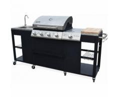 Barbecue au gaz D'Artagnan cuisine extérieure 5 brûleurs évier planche thermomètre
