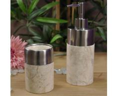 Ensemble Distributeur de savon et gobelet en marbre et inox crème - WANDA-COLLECTION