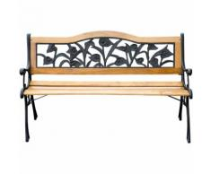 Banc banquette de jardin terrasse parc bois et acier meubles de jardin 3 places 126x52x76cm charge