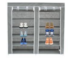 Storaddict - Armoire, Penderie, 2 portes, placard à chaussures, 114 x 110 x 28 cm, Gris, Matériau: