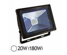 Projecteur Led 20W (180W) IP65 Finition Noir Blanc jour 6000°K - VISION-EL