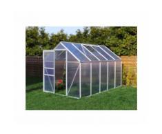 Serre de jardin 5.89 m² en aluminium avec porte et fenêtre d'aération - 190x310 cm - Plantiflex