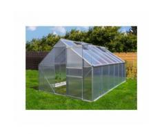 Serre de jardin 9.25 m² en aluminium avec porte et deux fenêtres d'aération - 250x370 cm -