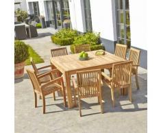 Salon de jardin en bois de TECK BRUT QUALITE PREMIUM - Table carrée + 8 fauteuils empilables