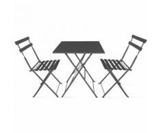 Table bistrot de jardin et 2 chaises pliantes Gris - BOUTIQUE JARDIN
