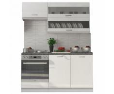Pack cuisine ultra moderne 160 cm coloris blanc mat et blanc laqué - COMFORIUM