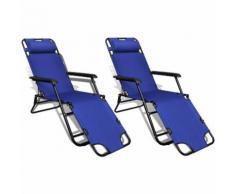 Ensemble de 2 Chaises longues pliables bleu avec repose-pied - VIDAXL