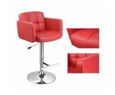 Lot de 2 tabourets de bar design simili cuir avec dossier et accoudoirs ergonomique rouge