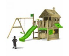 FATMOOSE Portique de jeux en bois CountryCow Maxi XXL Aire de jeux pour jardin avec balançoire et