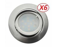 Lot de 6 Spot Led Encastrable Complete Satin Orientable lumière Blanc Neutre eq. 50W ref.895