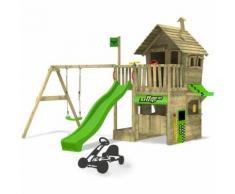 FATMOOSE Aire de jeux RebelRacer Super XXL Portique de jeux en bois Cabane pour jardin avec