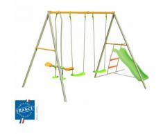 Portique métal 2,20 m face à face, balançoires, toboggan pour 4 enfants - M&S