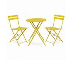 Salon de jardin bistrot pliable Emilia rond jaune, table Ø60cm avec deux chaises pliantes, acier