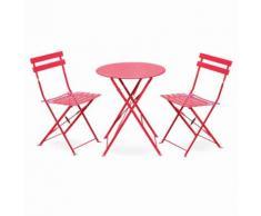 Salon de jardin bistrot pliable Emilia rond rouge, table Ø60cm avec 2 chaises pliantes, acier