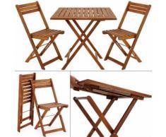 Ensemble 2x chaise 1x table pliable - Salon de jardin balcon terrasse - Acacia - DEUBA
