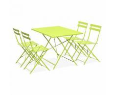 Salon de jardin bistrot pliable Emilia rectangulaire vert anis, table 110x70cm avec quatre chaises