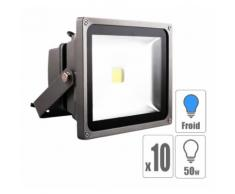 Lot x10 Projecteur led extérieur 50w Blanc froid IP65 - TECHBOX