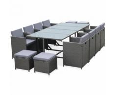 Salon de jardin Cubo Gris table en résine tressée 8 à 12 places, fauteuils encastrables