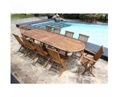 Salon de jardin teck en bois de teck huilé 10/12 pers Table larg 100cm 8 chaises 2 fauteuils