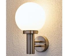 Applique d'extérieur Nada en inox boule blanc opale matériau synthétique - LAMPENWELT