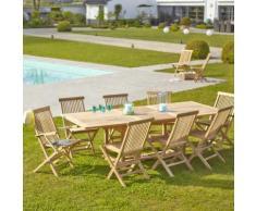 Salon de jardin en bois de TECK BRUT QUALITE PREMIUM 8/10 pers - Table rectangulaire 180/240cm - 6