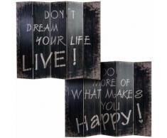 Paravent en bois coloris noir - 5 pans - Dim : H 180 x L 200 x P 2.5 cm - PEGANE