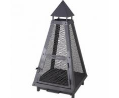 Brasero ou lanterne noir - 40 x 40 cm - Hauteur 80 cm - LIENBACHER