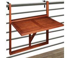 Table de balcon suspendue - 64x45x87cm - bois d'acacia - pliable - DEUBA