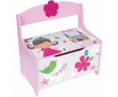 Banc Coffre à jouets Motif Girly, L 60 x P 35 x H 59 cm - PEGANE
