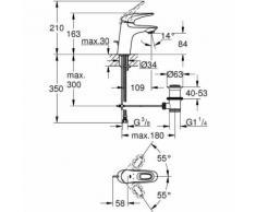 """Eurostyle Mitigeur monocommande 1/2"""" Lavabo Taille S Chrome avec vidage automatique (23564003)"""