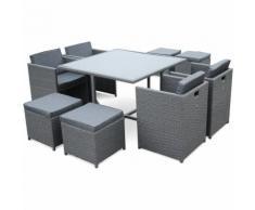 Salon de jardin Vasto Gris table en résine tressée 4 à 8 places, fauteuils encastrables
