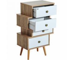 Meuble commode chiffonnier style scandinave 4 tiroirs coulissants 47 x 30 x 81 cm coloris blanc bois