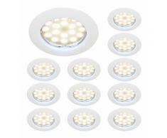 LOT DE 12 SPOT LED ENCASTRABLE COMPLETE RONDE FIXE eq. 50W BLANC CHAUD 3000K - LAMPESECOENERGIE