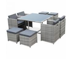 Salon de jardin Vasto Nuances de Gris table en résine tressée 4 à 8 places, fauteuils