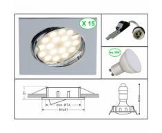 LOT DE 15 SPOT ENCASTRABLE ORIENTABLE LED CARRE CHROME GU10 230V eq. 50W BLANC CHAUD 3000K