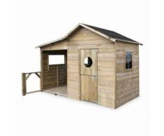 Maisonnette en bois FSC Camelia de 3m² avec véranda, pin autoclave - ALICE'S GARDEN