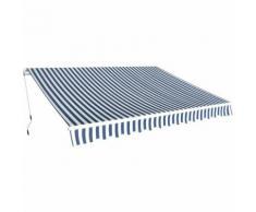 vidaXL Auvent pliant à manoeuvre manuelle 3,5 x 2,5 m Bleu et blanc