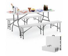 Ensemble Table bancs camping pliable - table buffet banc pliant jardin 180cm - DEUBA