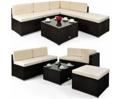 Salon de jardin lounge en polyrotin brun 16 pièces - DEUBA