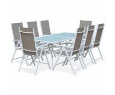 Salon de jardin en aluminium table 8 places Blanc textilène fauteuil Taupe - ALICE'S GARDEN
