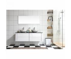 Lilia Blanc : ensemble salle de bain meuble + 2 vasques + 1 miroir - CONCEPT-USINE