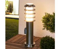 Borne lumineuse Selina prise lampe inox cadre ajouré lampe d'extérieur - LAMPENWELT