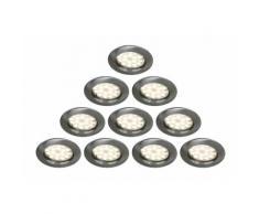 LOT DE 10 SPOT LED ENCASTRABLE COMPLETE RONDE FIXE ALU BROSSE eq. 50W BLANC CHAUD 3000K