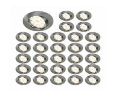 LOT DE 30 SPOT LED ENCASTRABLE COMPLETE ORIENTABLE ALU BROSSE AVEC AMPOULE GU10 230V eq. 50W, BLANC