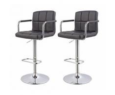 Lot de 2 tabourets de bar ergonomique simili-cuir hauteur réglable noir - DéCOSHOP26