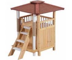 Niche villa pour chien chat terrasse couverte échelle griffoir coloris bois naturel et bordeaux 77