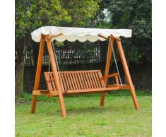 Balancelle balancoire hamac banc fauteuil de jardin bois de pin 3 places charge max. 500kg 01