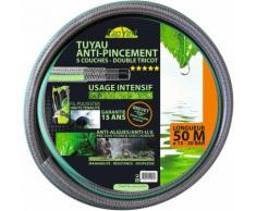 Tuyau d'arrosage tricoté 5 couches double renfort TSF+ Cap Vert - Longueur 50 m - Diamètre 15 mm