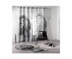 """Voilage imprimé """"Lion"""" GRIS / BLANC 140 x 240 cm - HOMEMAISON"""