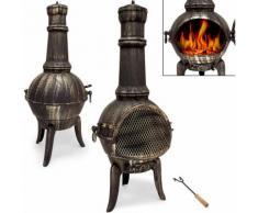 Cheminée d'extérieur en fonte BBQ Grill brasero mexicain grill Barbecue 112 cm - DEUBA